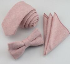 New Pink Vintage High End Wool Tie & Pocket Square 6cm. Excellent & Reviews. Uk.