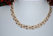 VINTAGE CORO GOLD TONE METAL WITH PINK ENAMEL OVERLAY CHOKER NECKLACE PINK BEADS
