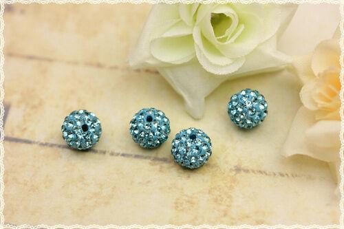 4pz perle strass svarowsky cristallo base in resina azzurro rhinestone crystal