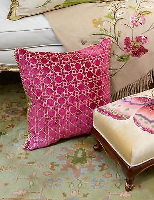 "$395 NEW Jay Strongwater TRELLIS PILLOW Flora Pink Green 20 /"" Sq"
