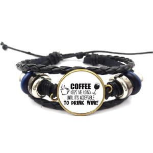 Café me garde-Verre Cabochon Bracelet Tressé Bracelet En Cuir Bracelets