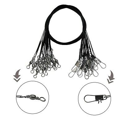 100pcs//lot  Stainless Steel Fishing Wire Leader with Snap and Swivel 12~30cm