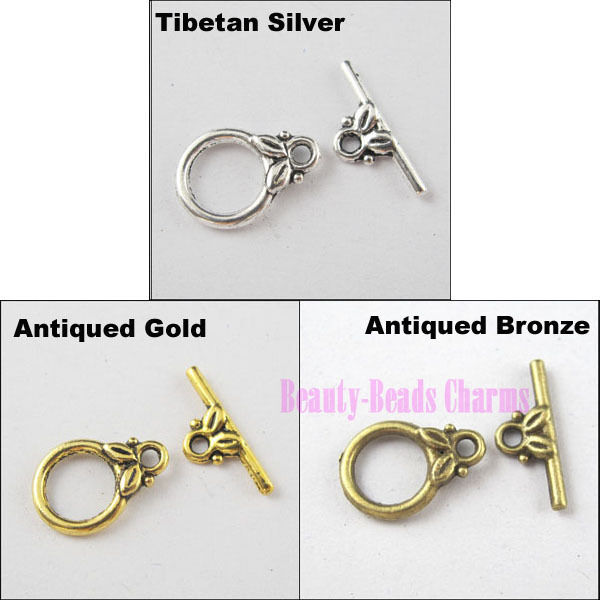 25Sets Tibetan Silver Gold Bronze Smooth Ring Leaf Connector Toggle Clasps
