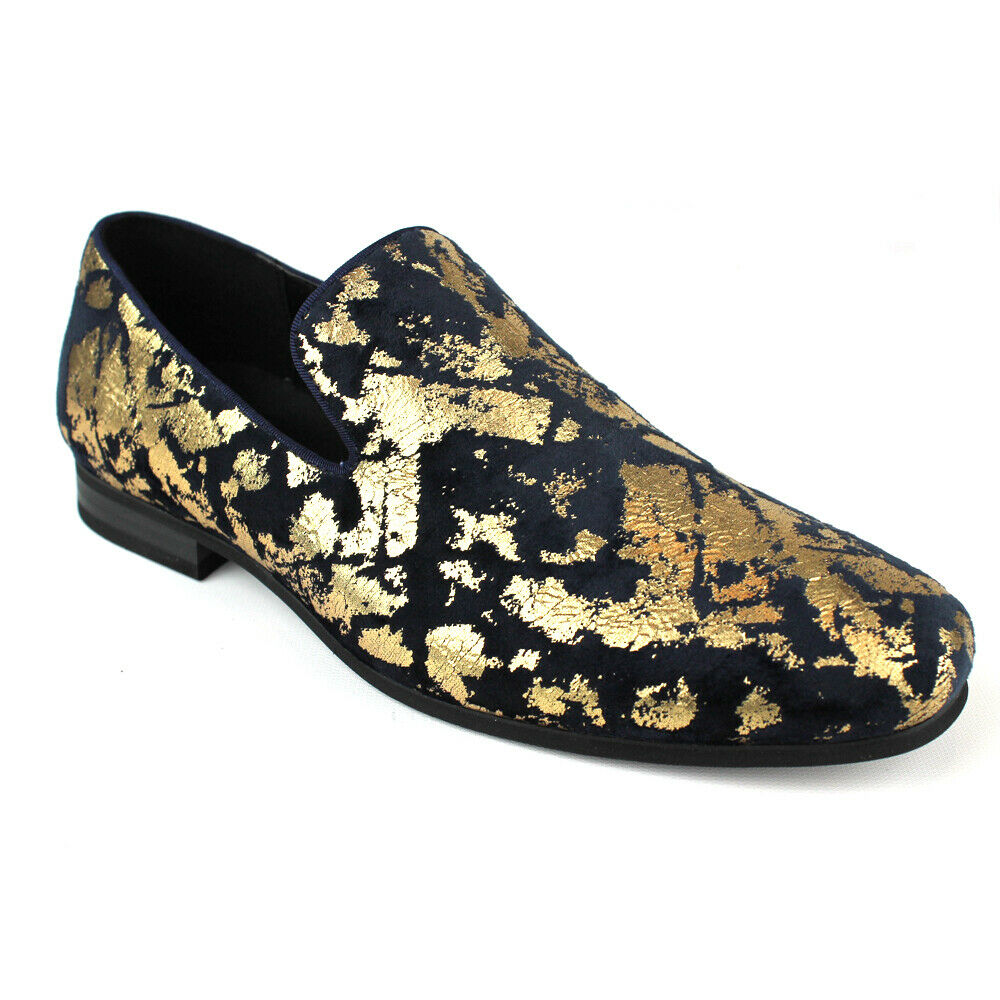 ÃZARMAN Men's Slip On Velvet Navy & gold Leopard Print new shoes shoes Loafers LS21