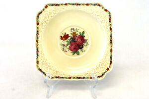 Vintage-Crown-Ducal-Gainsborough-England-Square-Salad-Plate
