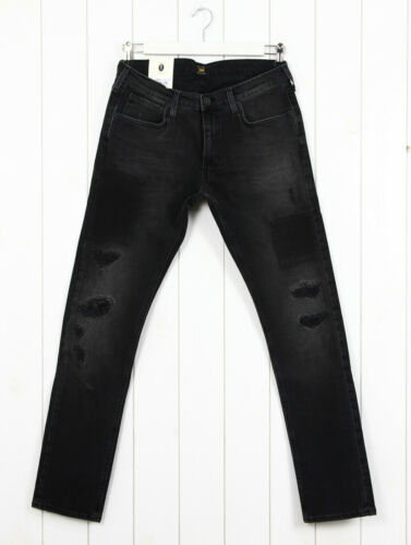 NEW LEE LUKE JEANS  SLIM TAPERED FIT BLACK//GREY HOLES RIPPED L32//L34 All Sizes
