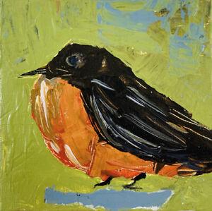 Robin Bird Miniature Animal Art Bird Painting Orange Green Katie Jeanne Wood