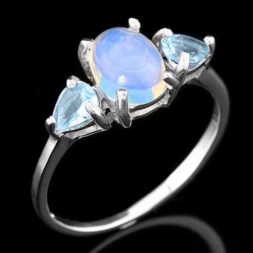 8X6MM Naturel Précieux Welo Opale /& Sky Blue Topaz Sterling Silver 925 Ring Siz 7