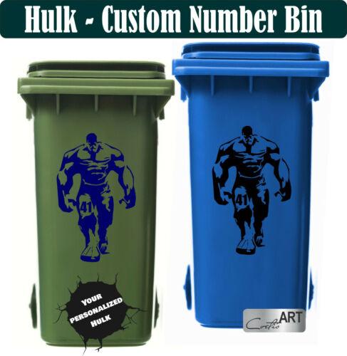 Grande taille Hulk Custom Personnalisé Wheelie Bin Stickers Vinyl Numéro animation