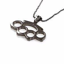 "Han Cholo Brass Knuckles Pendant Gun Metal Necklace 24"""