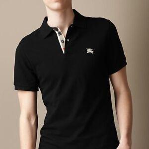 93b01e2759d1 Auth Burberry Brit Slim Fit Logo Pique Black Nova Check EUC Polo ...