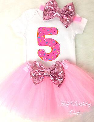 Cupcake Donut Doughnut Pink 5th Fifth Birthday Girl Tutu Outfit Shirt Set s2