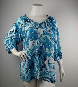 Avenue-Womens-Blouse-Top-Blue-3-4-Sleeve-Plus-Size-22-24