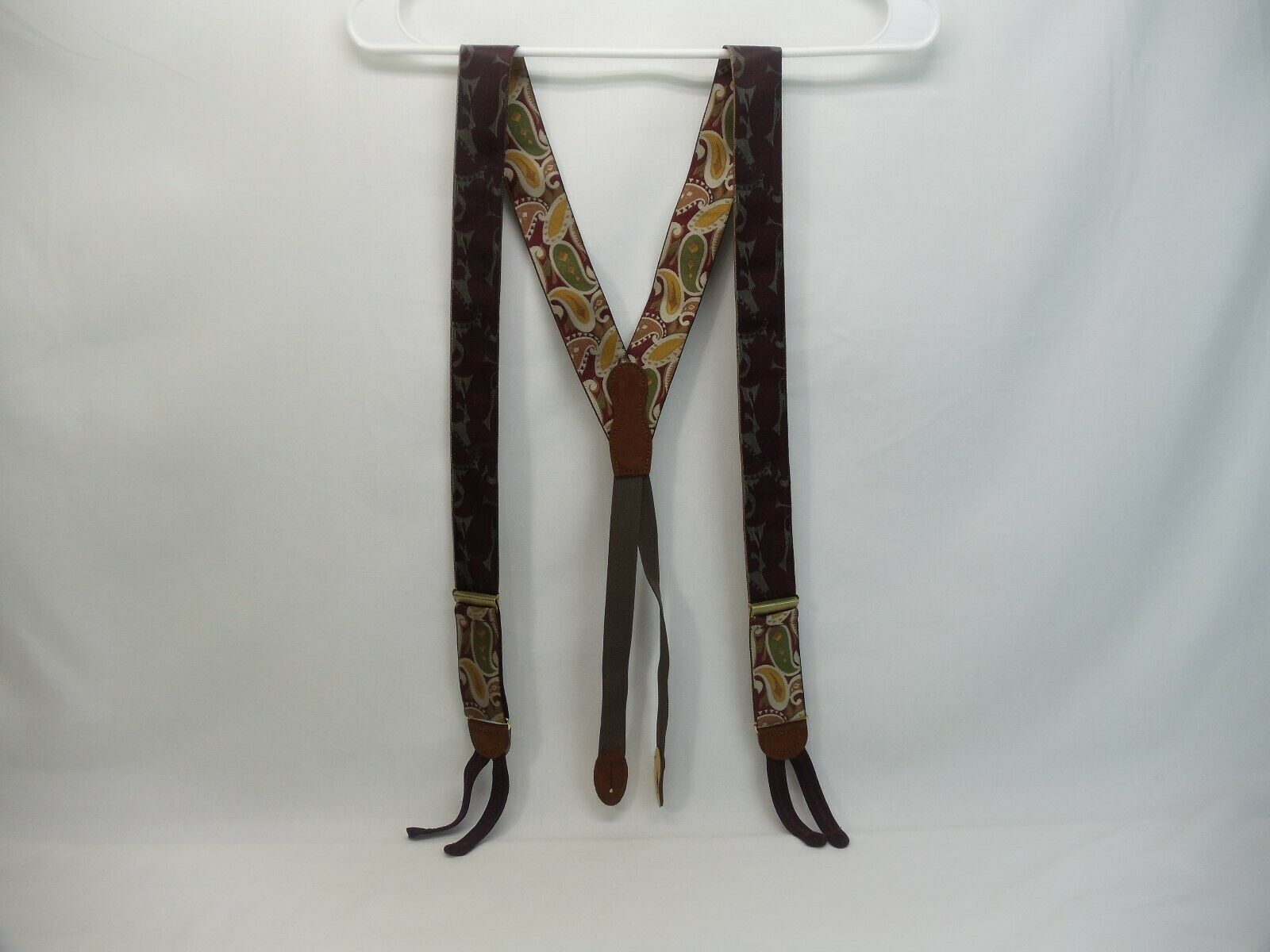 DM or MD Abstract design suspenders braces - burgundy green yellow brown