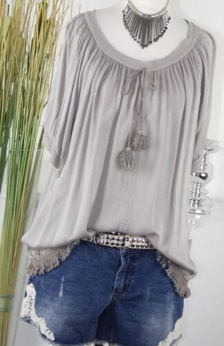 ITALY MODA Tunika KORDEL Vintage Fransen Borde Shirt TAUPE Braun M L 38 40 NEU