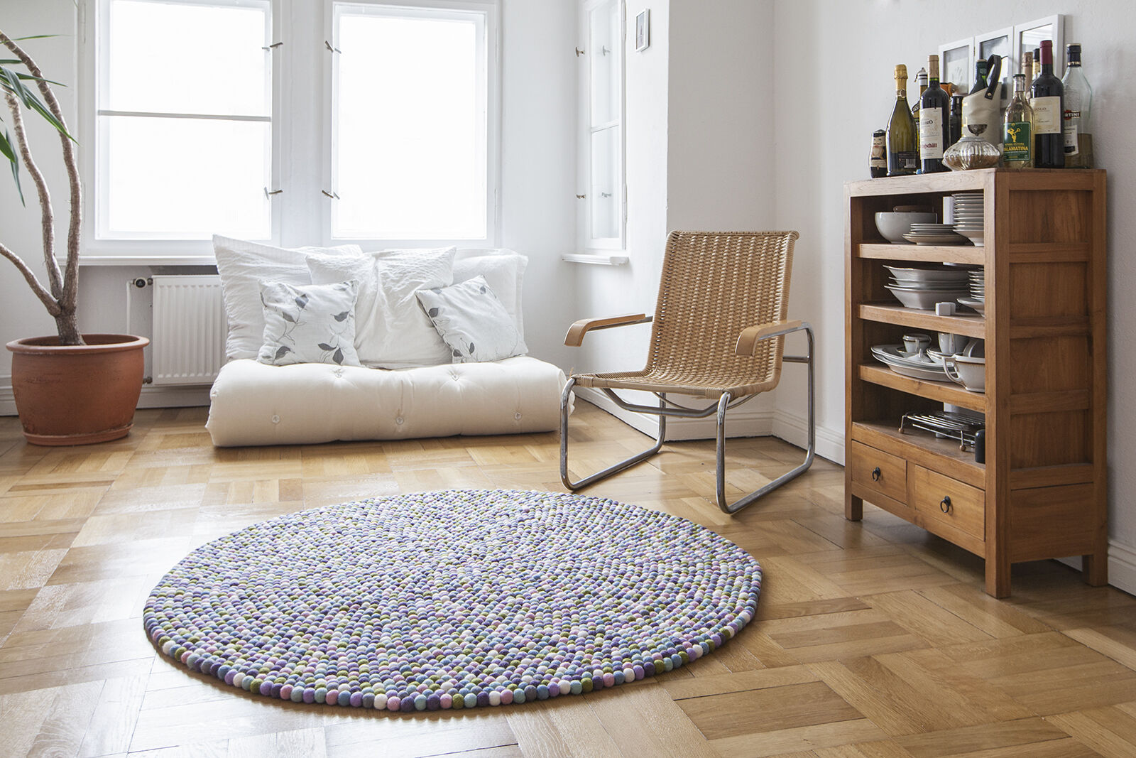 Myfelt Greta 200 cm design gris tapis gris design laine Filzkugelteppich enfants-tapis cd5924