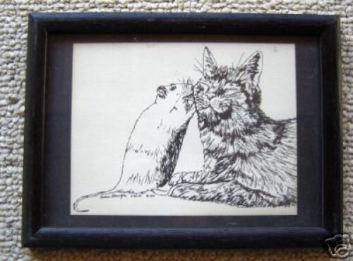 Cat and Mouse Small Print in 5x7 Ready for Framing