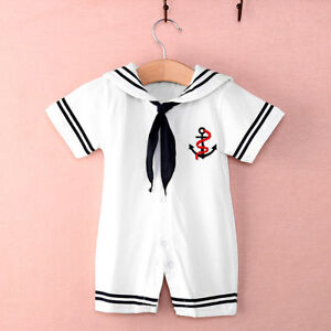 Newborn Baby Boy Girl Sailor Romper Bodysuit Navy Suit ...
