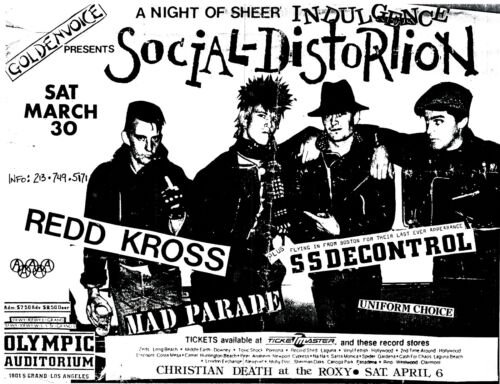 Tshirt Old Punk Flyer Red Kross SS Decontrol Mad Parade Olympic Aud Men/'s White