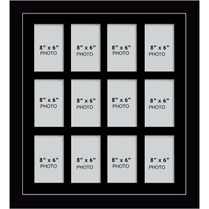 Large Multi Picture Photo Aperture Frame 8 X 6 Inche With 12