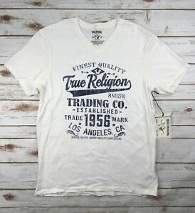 1b91e052 Mens True Religion Jeans T-Shirt Graphic Logo Tee Off White V-Neck ...
