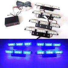 12V 9 LED 4 Bars Blue Car Flashing Emergency Grille Light Recovery Strobe in UK