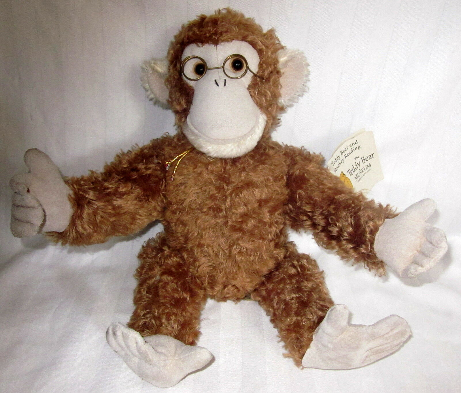 The Teddy Bear And Monkey Reading Ron Banafato Plush 17  Soft Monkey W Tags