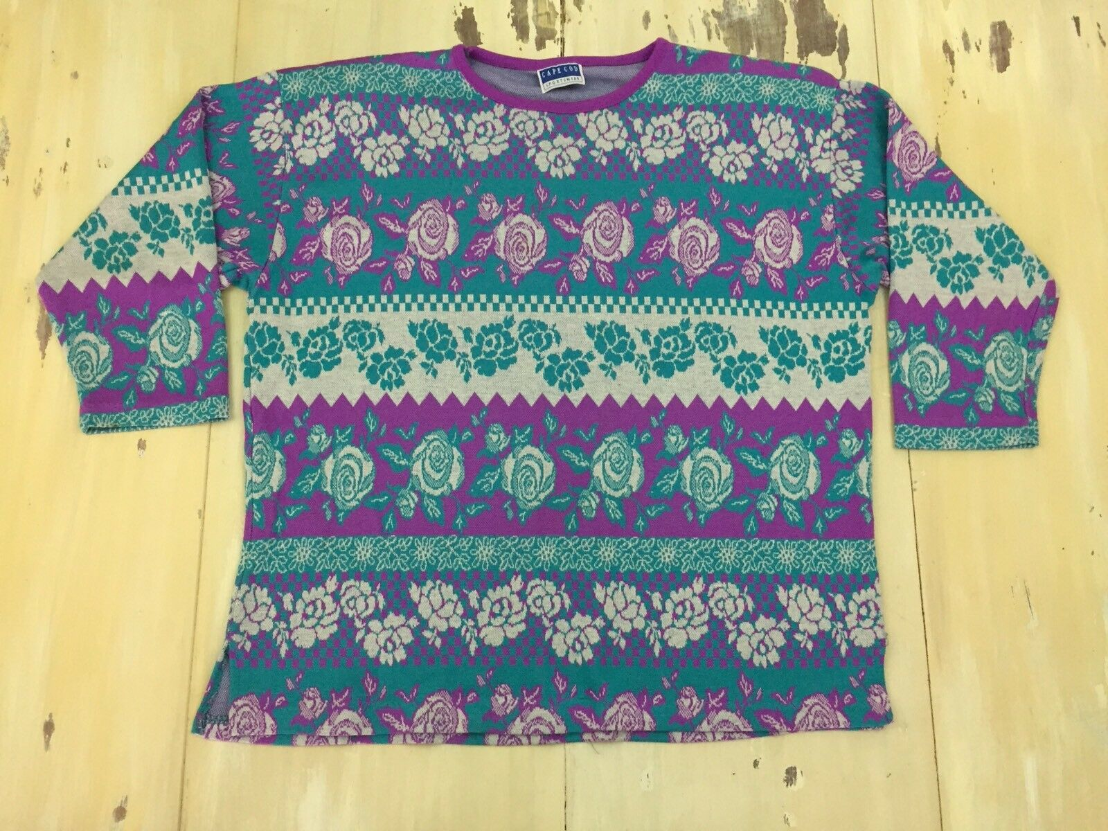CAPE COD - FAIRY KEI SWEATER Vtg 80s-90s Pink & Teal pink Floral Print, Sz XL
