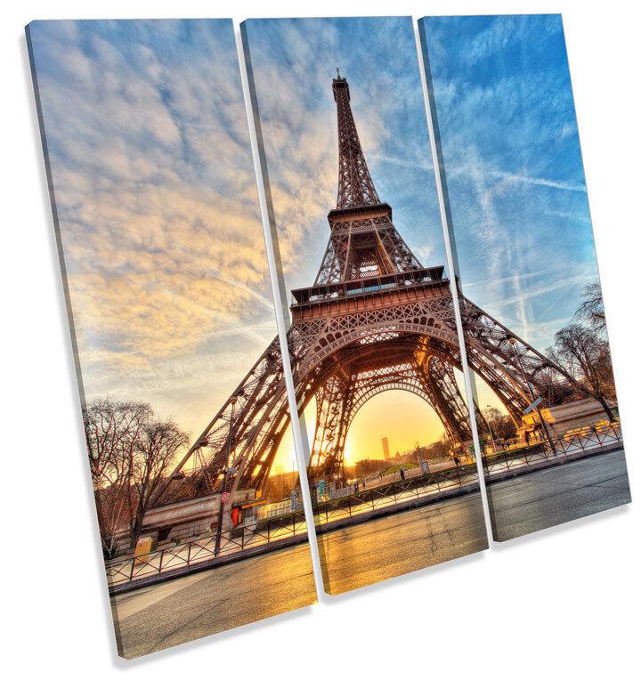Eiffel Tower Sunset Paris TREBLE CANVAS WALL ART Square Print Picture
