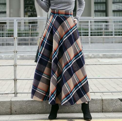 Womens Wool blend Mixed Color Swing Skirts Maxi Long Dress Warm Retro Casual U47