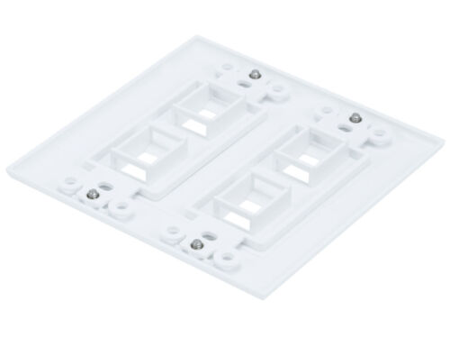4 PORT WHITE WALL PLATE FOR KEYSTONE JACK CAT5 CAT6 RJ45 4 Hole 2 gang 2pc