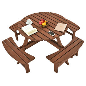Image Is Loading Wooden 6 8 Seater Round Picnic Bench Table