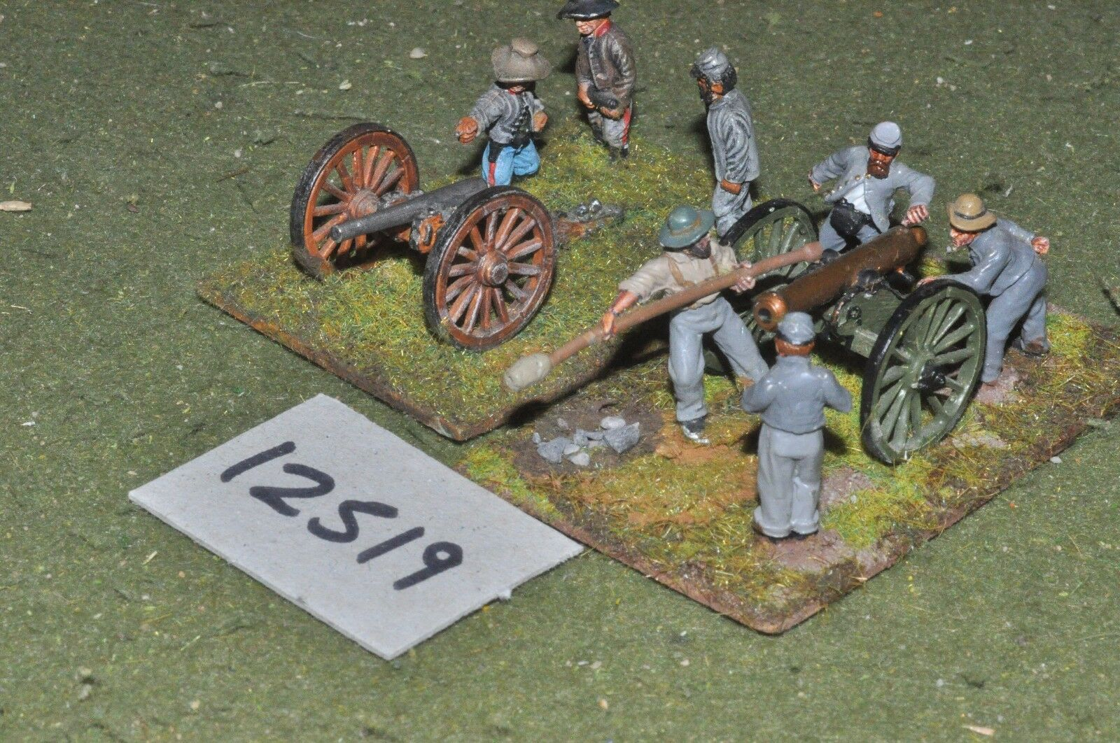 25mm ACW   confederate - american civil war 2 guns & crews - art (12519)