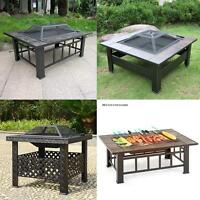 Outdoor Firepit Backyard Patio Garden Square Stove Metal Iron With Ceramic A6v2