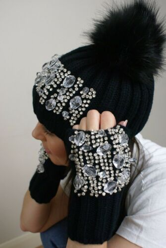 Ladies Crystal Embellished Fingerless Gloves