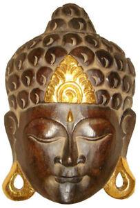 Maske Buddha Gold 25 Cm Holz Wanddeko Feng Shui Holzmaske Wanddeko