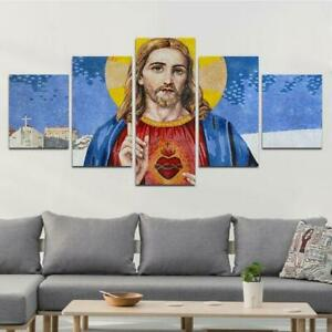 Great-God-Painting-Christ-Jesus-Poster-Wall-Art-Home-Decor-5-pieces-Canvas-Print