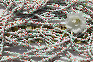 White-w-Red-amp-Green-Stripes-11-0-Czech-Glass-Seed-Beads-Hank