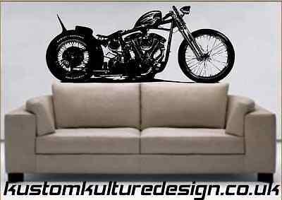 Harley Shovelhead Jap Style Bobber Motorcycle Vinyl Wall Art Decal Sticker