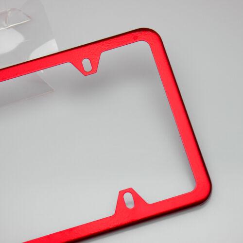 New Slim License Plate Cover Frame Holder 4 Hole Stainless Steel Chrome Red