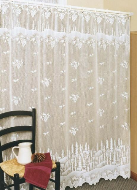 Heritage Lace PINECONE Shower Curtain - 2 Colors - Select Ecru or White USA MADE