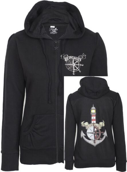 Küstenluder HEIMWÄRTS Lighthouse Sailor Anchor Hooded Zip Sweat JACKE Rockabilly