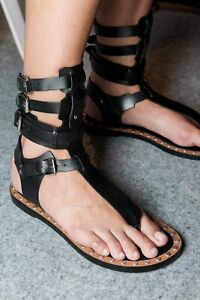 7567b740c4fb Image is loading Isabel-Marant-Sandals-Black-Jeepy-Leather-Gladiator-size-