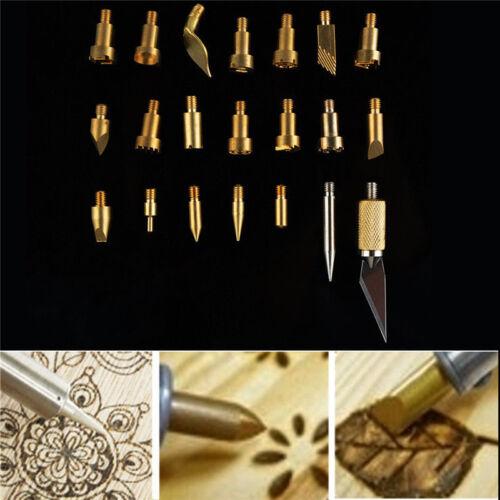 22Pcs DIY Wood Burning Pen Stencil Soldering Iron Pyrography Carving Tools Bits