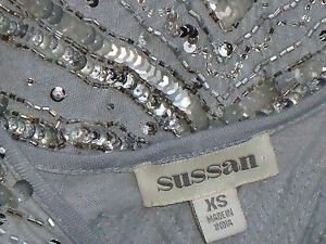 SUSSAN-GreyStretchMicroMiniSequinPartySzXS-asNEW