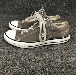 Details about Converse One Star Low Top Gray Lace Up Canvas Sneakers Junior Shoes Size 5 EUC