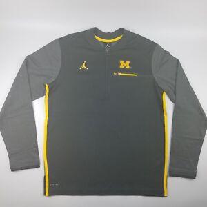 6444f6a0 Jordan Michigan Wolverines Football Coaches Dri-Fit 1/2 Zip Pullover ...