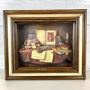 Vintage 3d Shadow Box Wall Art Violin Wood Frame Ebay