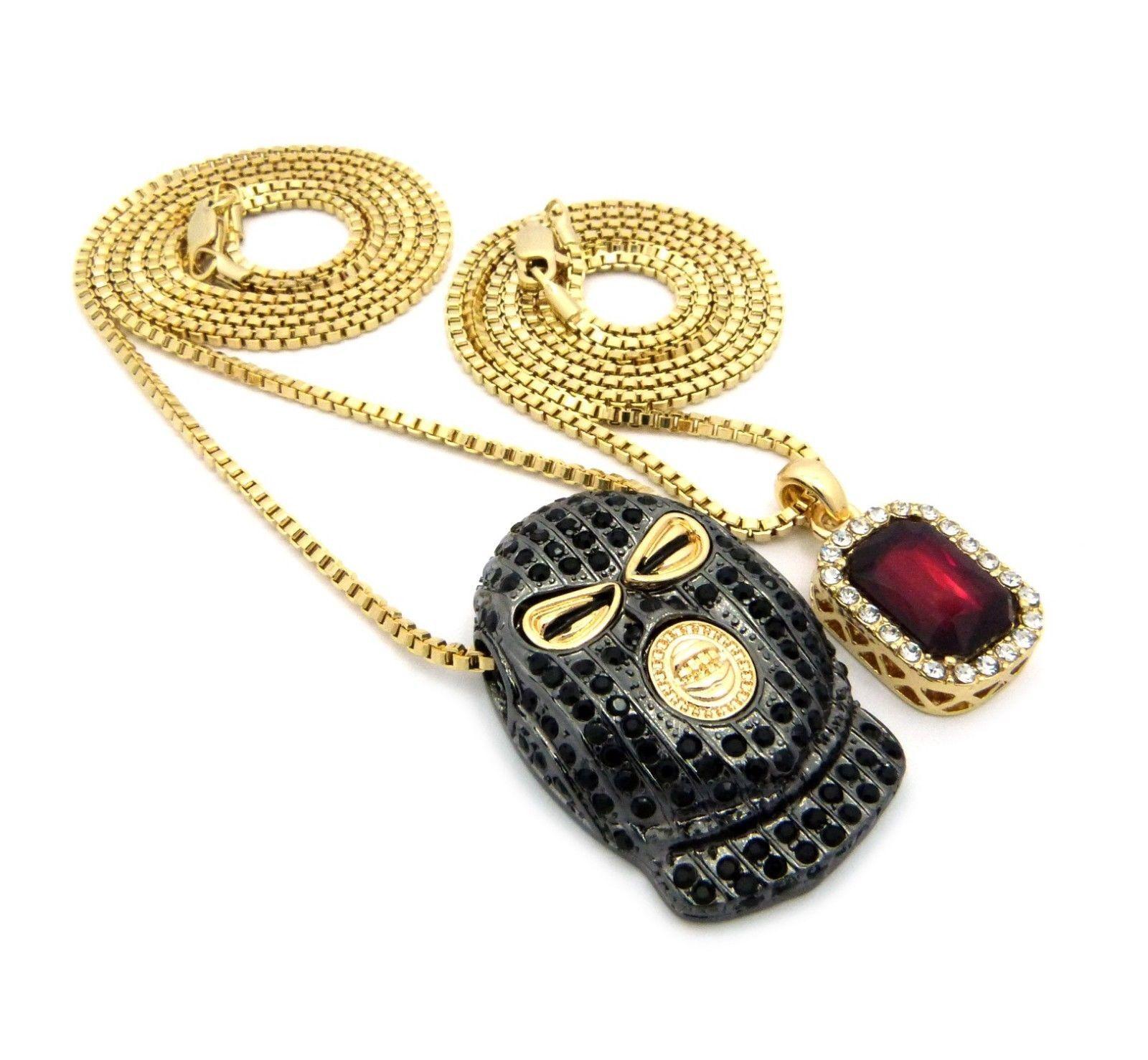 Hip Hop Red Ruby /& Goon Ski Mask man Pendant w// Box Chain 2 Necklace Set RC1274