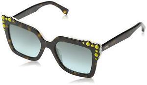 f14d403385 Fendi FF0260 S C9K EQ Square Sunglasses Havana White   Green Aqua ...